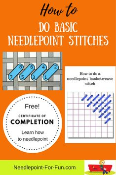 If you're a needlepoint beginner we show you the basic needlepoint stitches and . If you're a needlepoint beginner we show you the basic needlepoint stitches and everything else y Broderie Bargello, Bargello Needlepoint, Needlepoint Stitches, Sewing Stitches, Needlepoint Canvases, Needlework, How To Needlepoint, Diy Embroidery, Cross Stitch Embroidery