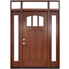 Steves & Sons 64 in. x 80 in. Craftsman 3 Lite Arch Stained Mahogany Wood Prehung Front Door with Sidelites and Transom-M4151-1210-CT-4RH - The Home Depot