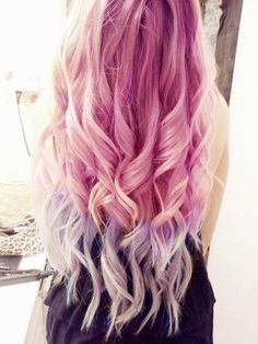 Pastel pink to lavender ombre