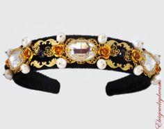 Swarovski D G Headband Woman Party Flower Baroque 24 K Gold Pearls Black Crystal | eBay