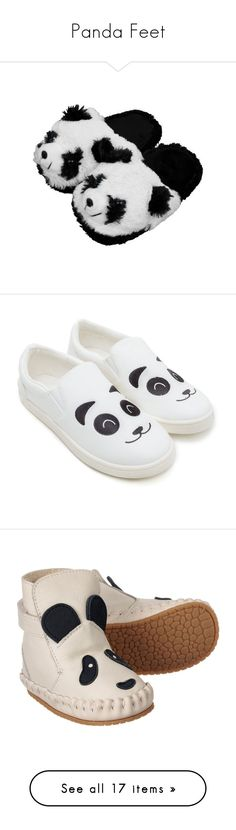 """Panda Feet"" by hbmf ❤ liked on Polyvore featuring slippers, shoes, panda, kids, sneakers, vegan shoes, vegan leather shoes, faux leather sneakers, faux leather shoes and fake leather shoes"