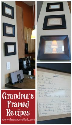 Framed handwritten recipe cards, exactly what I have been thinking about doing for my vintage gallery wall in the kitchen! Love it!