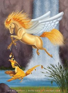 """Phoenix"" by soelver, 2008 , Pegasus, Phoenix Art, Winged Horse, Anime Animals, Pretty Horses, Land Art, Horse Art, Mythical Creatures, Animal Drawings"