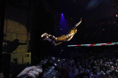 Mario Anzuoni—Reuters May 5, 2013. Lucha libre wrestler Cassandro leaps into the audience during the Lucha VaVOOM show as part of a Cinco de Mayo celebration at the Mayan theatre in Los Angeles.