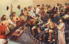In ancient Greece, most feasts of roast pig stuffed with ducks, egss and oysters were enjoyed only by men.