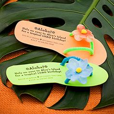 Luau-Theme Birthday Party: Flip Flop Invites Send the party details on invites in the shape of a summer sandal to get kids excited about the luau birthday bash. Ask guests to come dressed in their be (Diy Birthday Party) Aloha Party, Party Hawaii, Hawaiian Luau Party, Hawaiian Birthday, Tiki Party, Tropical Party, Hawaiian Party Outfit, Hawaiian Theme, Party Party