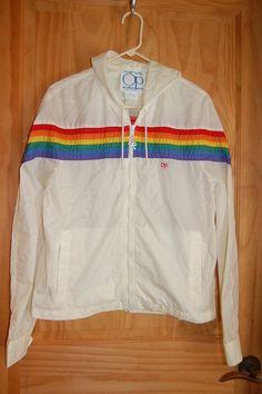 Vintage 70s 80s Op Ocean Pacific OP White Rainbow Striped Hooded Hoodie Windbreaker Rain Slicker Jacket Size Small on Wanelo