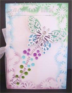 Handmade Female Birthday Card ... Stampin' Up! - Stem Sayings ... Frantic Stampers - Monarch Butterfly Die ... EnchantINK