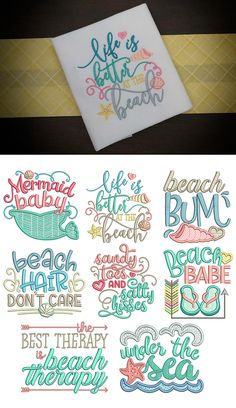Beach Word Art set 1! 8 adorable beach'y word art sayings available for instant download in 4 sizes: 4x4, 5x7, 6x10 and 8x8