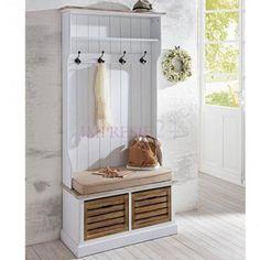 Garderoba z serii Provance, dwie skrzynki, siedzisko z poduszką.