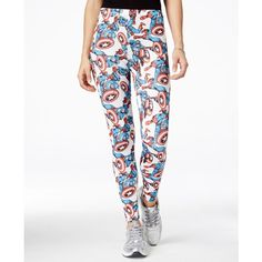 Freeze 24-7 Juniors' Marvel Captain America Graphic Leggings ($13) ❤ liked on Polyvore featuring pants, leggings, white, white legging pants, white leggings, graphic leggings, graphic print leggings and legging pants