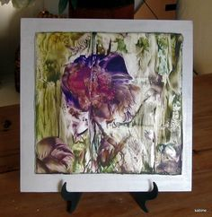 Encaustic Painting Abstract Floral  Purple by StudioSabine on Etsy, $60.00