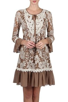 A'reve Brown Lace Crochet Bell Sleeve Dress S M L  #Areve #Tunic #Cocktail