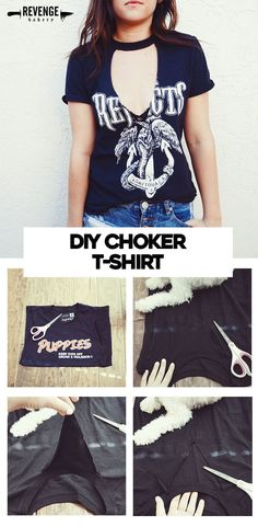 Sew T-Shirt DIY Cutout Choker T-shirt Perfect for Summer - Fashion Ideas - How to update an old shirt - Just the most simple, super cute DIY Choker Cutout T-Shirt. Get a step by step how-to complete this DIY, plus a few shirt options to cut up. Diy Choker, Diy Fashion, Ideias Fashion, Fashion Ideas, Fashion Trends, Fashion Hacks, Fashion Clothes, Diy Moda, T Shirt Tutorial