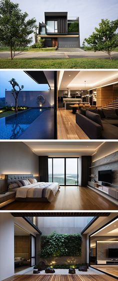 The PJ House by Rakta Studio in Padalarang, Indonesia is a modern home with an incredibly sophisticated look. Modern Tropical, Tropical Style, Architect House, Architect Design, Ultra Modern Homes, Flat Roof, House 2, Pj, Interior And Exterior