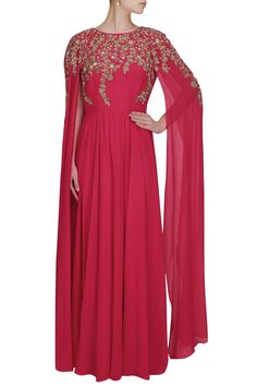 Fuchsia pink embroidered long sleeves cape kurta available only at Pernia's Pop Up Shop.