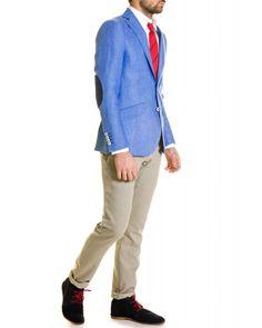 Americana Lino Liso Azul Claro con Coderas y Cuello a Contraste - Americanas - Hombre | El Ganso Online Store