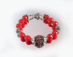 Free shipping.Charm Bracelet ,Red Coral ,Czech  Crystals. by emeliebeads. Explore more products on http://emeliebeads.etsy.com