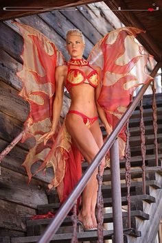 This is the #pheonix costume I designed and created for a #fitnessmodel in Australia.  On the actual  woman who bought it. A much better picture than the one I have on my mannequin. #fantasydesignstudio @fantasydesignstudio