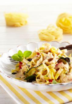 Fettuccine mit Gemüse #hochland #käse #rezept #recipe #fettuccine #sandwichscheiben #emmentaler