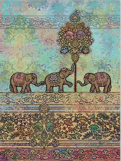 Elephant Tapestry Mandala Art Wall Hanging Tapestry
