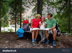 Family On Hike, Family Planning Mountain Trek - Dolomites - Italy Stock Photo 123782650 : Shutterstock