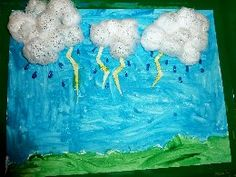 Paint background, use cotton balls for clouds, add blue glitter glue for rain drops.  You can cut out lightning and paint with gold glitter glue.  Also to give it that stormy look paint silver glitter glue over the sky and on clouds.