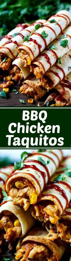 BBQ Chicken Taquitos with a creamy filling. Baked in the oven until crispy.