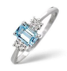 9K White Gold 0.06 Carat #Diamond and Blue Topaz Engagement #Ring. http://jangmijewelry.com/