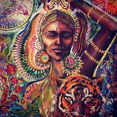 Déesse de la force Tiger Butterfly Ayahuasca art visionnaire