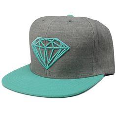Diamond Brilliant Snapback Hat (Grey/Diamond Blue) $39.95