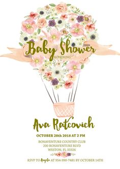 DIY Watercolor Hot Air Ballon Floral  Baby Shower Invitation 5x7- Digital File