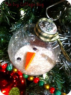 melted snowman ornament--cute kid/family project to make and give away with cookie plates!