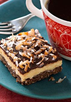 Layered Coconut-Chocolate Bars -- Four layers work together in this delicious dessert recipe: A walnutty crust is topped with a creamy center, a layer of chocolate and toasted coconut flakes. Pudding Desserts, Cookie Desserts, Just Desserts, Dessert Recipes, Cookie Bars, Bar Cookies, Dessert Healthy, Dessert Ideas, Chocolate Bar Recipe