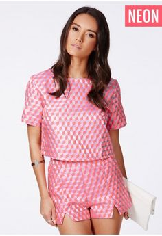 Orsina Neon Boxy Top In Geometric Print - Tops - Box tops - Missguided