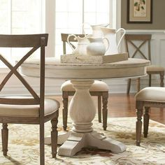 Aberdeen Wood Round Dining Table and Chairs in Weathered Worn White by Riverside Furniture Humble Abode Round Pedestal Dining Table, Dining Table In Kitchen, Extendable Dining Table, Round Kitchen, Small Dining, Kitchen Sets, Nautical Dining Rooms, Dining Room Sets, Dining Furniture