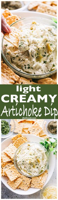 Light Creamy #Artichoke Dip - My favorite #dip to bring to #Holiday parties! It's creamy, cheesy, yet light and super delicious! via @diethood with @HarvestStone_ #HarvestStone #ad