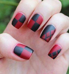 Dahlia Nails: Suicide Squad: Harley Quinn , new nail idea ! Square Nail Designs, Red Nail Designs, Maquillaje Harley Quinn, Red Nails, Hair And Nails, Pink Nail, Short Square Nails, Short Nails, Pretty Nail Art