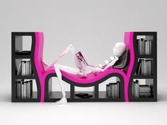 dinlenme koltuğu şeklinde tasarlanmış dekoratif kitaplık modeli