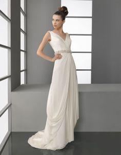 V-neck A-line chiffon bridal gown