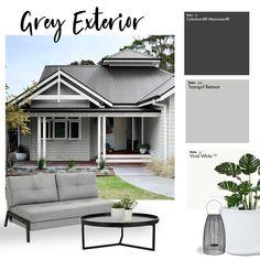 Exterior Color Palette, House Exterior Color Schemes, White Exterior Houses, Exterior Paint Colors For House, Exterior Colors, Dulux Paint Colours Grey Exterior, Grey Homes Exterior, Exterior House Colors Combinations, House Roof