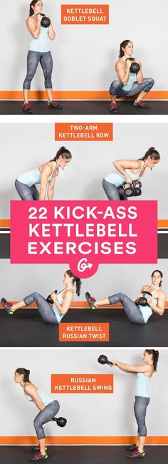 Drop the dumbbells. Here are 22 kettlebell exercises thatll give your whole body a killer... #fitness #kettlebell #exercises http://greatist.com/fitness/22-kick-ass-kettlebell-exercises