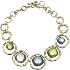 Vaubel necklace, in gold with smoky, green and blue quartz