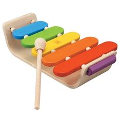 Plan Toys Oval Xylophone for Musical Babies. A simple wooden xylophone with 5 different each a different colour. The mallet is a nice size for small children to hold teaches them how to make different sounds using a musical instrument. Wooden Toys For Toddlers, Toddler Toys, Baby Toys, Kids Toys, Baby Play, Plan Toys, Musical Toys, Natural Baby, Natural Toys