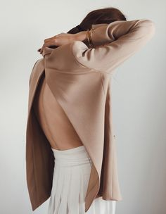 Stylish White pleated skirt, Nude Open back Top