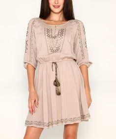 Another great find on #zulily! Taupe Embroidered Tie-Waist Peasant Dress by Marineblu #zulilyfinds