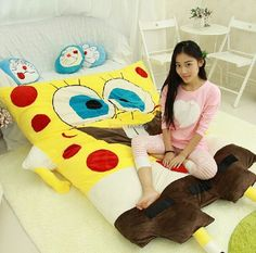 340.20$  Watch here - http://ali7wt.worldwells.pw/go.php?t=32271027954 - Fancytrader Hot Item! 200cm X 150cm Soft Cute Stuffed Jumbo SpongeBob Bed Carpet Tatami Mattress Sofa, Free Shipping FT50321