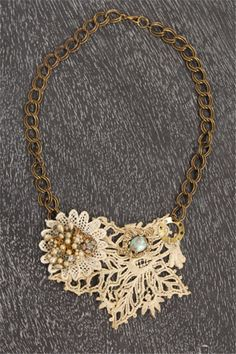 Lenna Agnes Vintage Lace Necklace  @Amy Lyons Farina  - have you tried using lace?