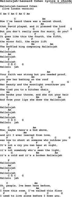 Love Song Lyrics for: Hallelujah-Leonard Cohen with chords for Ukulele, Guitar Banjo etc.