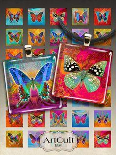 Printable download BUTTERFLIES Digital Collage Sheet by ArtCult
